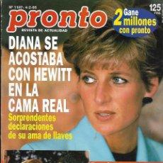Coleccionismo de Revista Pronto: REVISTA PRONTO Nº 1187 - DIANA SE ACOSTABA CON HEWWITT - ROCÍO JURADO Y ORTEGA CANO REV0279. Lote 211761693