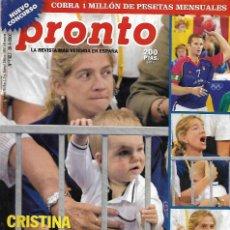 Collectionnisme de Magazine Pronto: REVISTA PRONTO Nº 1482 -INFANTA CRISTINA REV0518. Lote 212148901