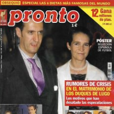 Collectionnisme de Magazine Pronto: REVISTA PRONTO Nº 1571 - CRISIS INFANTA CRISTINA Y JAIME MARICHALAR REV0528. Lote 212158496