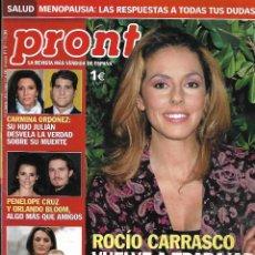 Collectionnisme de Magazine Pronto: REVISTA PRONTO Nº 1791 - ROCÍO CARRASCO,VUELVE A TRABAJAR - LETIZIA - CARMINA ORDÒÑEZ REV0554. Lote 212210305