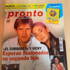 Coleccionismo de Revista Pronto: REVISTA PRONTO Nº1517 / 2001 - CARMEN ROMERO / EL CORDOBES / JULIO IGLESIAS / GRAN HERMANO 1 / ETC... Lote 220689520