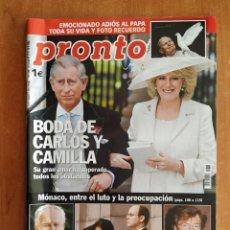 Coleccionismo de Revista Pronto: REVISTA PRONTO 1719. ELSA PATAKY. RAFAEL AMARGO. PEPE DE LUCÍA. UNAX UGALDE. CHENOA. FERNANDO ALONSO. Lote 221448442