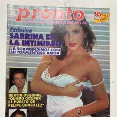 Coleccionismo de Revista Pronto: REVISTA PRONTO DE 1988 Nº 833 SABRINA. Lote 221573615
