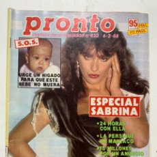 Coleccionismo de Revista Pronto: REVISTA PRONTO DE 1988 Nº 822 SABRINA. Lote 221574056