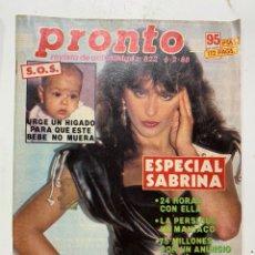 Coleccionismo de Revista Pronto: REVISTA PRONTO DE 1988 Nº 822 SABRINA. Lote 221575190