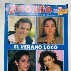 Coleccionismo de Revista Pronto: REVISTA PRONTO DE 1988 Nº 850 SABRINA. Lote 221575490