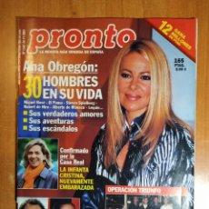 Coleccionismo de Revista Pronto: PRONTO Nº 1542. 30 HOMBRES DE ANA OBREGON. MARADONA.NATALIA ESTRADA.CHARO REINA.MILIKI. OMAR SHARIFF. Lote 222462796