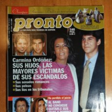 Coleccionismo de Revista Pronto: PRONTO Nº 1544. JUSTO MOLINERO.IVONNE REYES.PEP GUARDIOLA.SOFIA LOREN.MÓNICA NARANJO.PAOLA DOMINGUIN. Lote 222463430