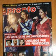 Coleccionismo de Revista Pronto: PRONTO Nº 1551. CHABELI. ARÉVALO. ALFONSO DEL REAL. FEDRA LORENTE. NURIA ROCA. PADRE ANGEL. PAZ VEGA. Lote 222464743