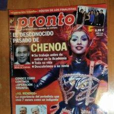 Coleccionismo de Revista Pronto: PRONTO Nº 1554. EL PASADO DE CHENOA. ALEJANDRO AMENABAR. CAMILO SESTO. BÁRBARA REY. LAUREN POSTIGO.. Lote 222465481
