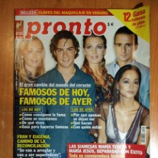 Coleccionismo de Revista Pronto: PRONTO Nº 1580. BEATRIZ RICO. MÓNICA PONT. ESPARTACO. MANOLO ESCOBAR. SARA MONTIEL. JOAQUÍN SABINA.. Lote 222468781