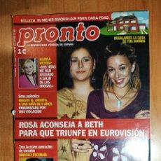 Coleccionismo de Revista Pronto: PRONTO Nº 1608. MARISA MEDINA. VALDERRAMA. SARA MONTIEL. LA OVEJA DOLLY.FRAN GRAN HERMANO BARCARROTA. Lote 222686835
