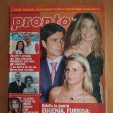 Coleccionismo de Revista Pronto: PRONTO Nº 1687. ALICIA ALONSO. AMAIA MONTERO.CARMEN BAÑOS.LEONOR WATLING.EL DIONI.REMEDIOS CERVANTES. Lote 223068310