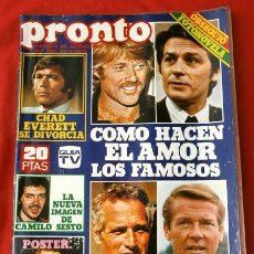 Coleccionismo de Revista Pronto: PRONTO Nº 298 (1978) POSTER R. JORDAN - FOTONOVELA - CHAD EVERETT, NEWMAN, MOORE, DELON, CAMILO. Lote 226294495