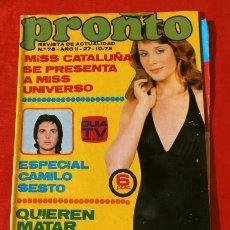 Coleccionismo de Revista Pronto: PRONTO Nº 76 (1973) (DIFICIL) TERESA RABAL - BODAS ORO FRANCO - CAMILO SESTO - STEVE MC QUEEN TP. Lote 226300668