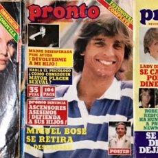 Coleccionismo de Revista Pronto: LOTE DE 3 REVISTAS PRONTO ACTUALIDAD AÑOS 1979 1980 1981 LADY DIANA MIGUEL BOSE MARIA JOSE CANTUDO. Lote 227470535