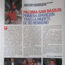 Collectionnisme de Magazine Pronto: RECORTE REVISTA PRONTO Nº 861 1988 PALOMA SAN BASILIO. Lote 228443030