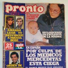 Colecionismo da Revista Pronto: REVISTA PRONTO 339 AMANDA LEAR FERNANDO ESTESO VALERIO LAZAROV MARIA CASAL AGATA LYS PAULA WILCOX. Lote 236347895