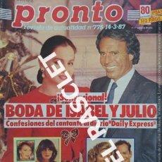 Coleccionismo de Revista Pronto: ANTIGÜA REVISTA PRONTO - NUMERO 775 - FECHA 14-3-1987. Lote 236394555