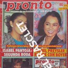 Coleccionismo de Revista Pronto: ANTIGÜA REVISTA PRONTO - NUMERO 766 - FECHA 10-01-1987. Lote 236396510