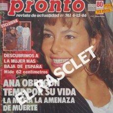 Coleccionismo de Revista Pronto: ANTIGÜA REVISTA PRONTO - NUMERO 761 - FECHA 06-12-1986. Lote 236402450