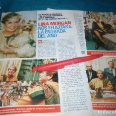 Coleccionismo de Revista Pronto: RECORTE : LINA MORGAN, FELICITA LA ENTRADA DE AÑO. PRONTO, ENERO 1991 (#). Lote 236691745