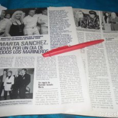 Coleccionismo de Revista Pronto: RECORTE : MARTA SANCHEZ, NOVIA DE LOS MARINEROS. PRONTO, ENERO 1991 (#). Lote 236691875