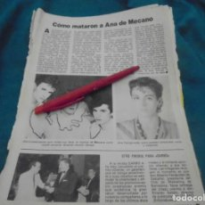Coleccionismo de Revista Pronto: RECORTE : COMO MATARON A ANA DE MECANO. PRONTO, JUNIO 1982 (#). Lote 236696025