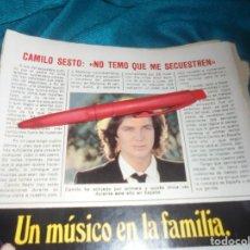 Coleccionismo de Revista Pronto: RECORTE : CAMILO SESTO, NO TEME QUE LO SECUESTREN. PRONTO, FBRO 1982 (#). Lote 236696385