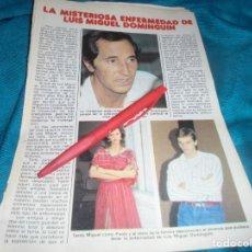 Coleccionismo de Revista Pronto: RECORTE : LA MISTERIOSA ENFERMEDAD DE LUIS MIGUEL DOMINGUIN. MIGUEL BOSE. PRONTO, FBRO 1982 (#). Lote 236698190