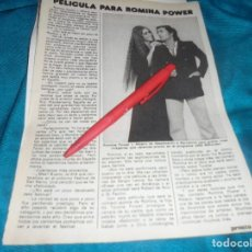 Coleccionismo de Revista Pronto: RECORTE : PELICULA PARA AL BANO Y ROMINA POWER. PRONTO, FBRO 1982 (#). Lote 236698275