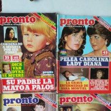 Coleccionismo de Revista Pronto: CUATRO REVISTAS PRONTO SARA MONTIEL,, CAROLINA, LADY DIANA, PAQUIRRI, . VER IMÁGENES. Lote 236762260
