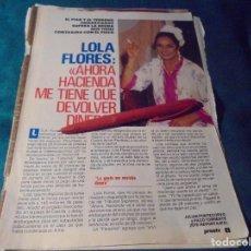 Coleccionismo de Revista Pronto: RECORTE : LOLA FLORES Y HACIENDA. PRONTO, FBRO 1991 (#). Lote 236776015