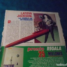 Coleccionismo de Revista Pronto: RECORTE : LATOYA JACKSON, LA DOBLE DE MICHAEL JACKSON. PRONTO, SPTMBRE 1988 (#). Lote 236787705