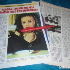 Coleccionismo de Revista Pronto: RECORTE : ENTREVISTA , ALASKA. PRONTO, ABRIL 1987 (#). Lote 238547900