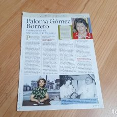 Collectionnisme de Magazine Pronto: PALOMA GÓMEZ BORRERO -- CORRESPONSAL TELEVISIÓN EN VATICANO -- VIDAS INTERESANTES -- REVISTA PRONTO. Lote 240690820