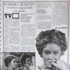 Collectionnisme de Magazine Pronto: RECORTE REVISTA PRONTO N.º 345 1978 MARIBEL MARTÍN, BACCARA, JOSÉ VELEZ. Lote 241068075