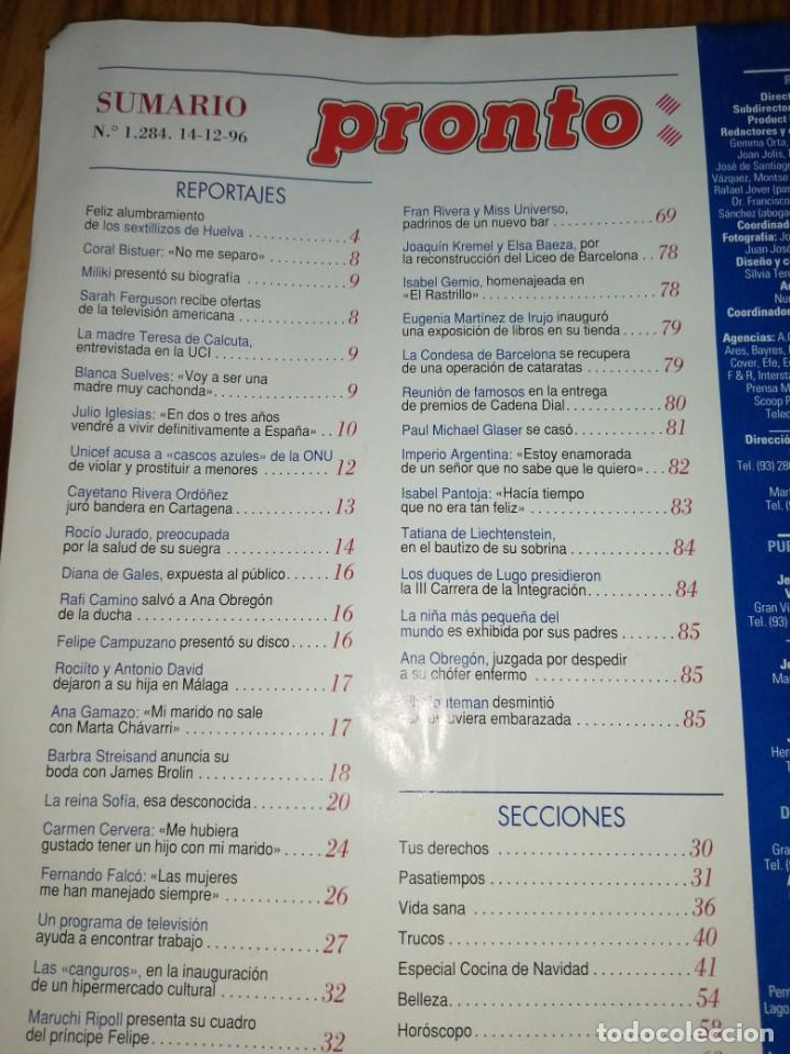 Coleccionismo de Revista Pronto: Año 1996 1284 Fernando Esteso Imperio Argentina Ana Obregon Maruchi Ripoll Camila Rocío Carrasco - Foto 2 - 242007015