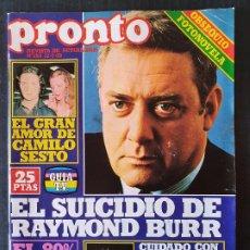 Collectionnisme de Magazine Pronto: REVISTA PRONTO Nº 353 - CAMILO SESTO RAYMOND BURR RAICES PEPE RUBIO EVA GLORIA. Lote 242027705