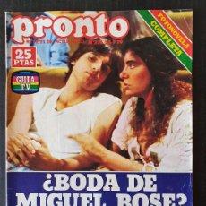 Collectionnisme de Magazine Pronto: REVISTA PRONTO Nº 376 - MIGUEL BOSE CON 8 BASTA SOFIA LOREN LORENZO SANTAMARIA POSTER BEE GEES. Lote 242027825