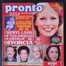 Collectionnisme de Magazine Pronto: REVISTA PRONTO Nº 387 - CHERYL LADD MELISSA GILBERT MANOLO ESCOBAR LAS GRECAS ROCIO JURADO POSTER LO. Lote 242027890