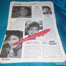 Coleccionismo de Revista Pronto: RECORTE : LINA MORGAN. MICHAEL JACKSON. PRONTO, ENERO 1986 (#). Lote 243762585