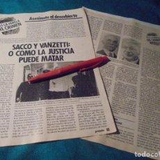 Coleccionismo de Revista Pronto: RECORTE : TRAS LA HUELLA DEL CRIMEN : SACCO Y VANZETTI. PRONTO, ENERO 1986 (#). Lote 243762835