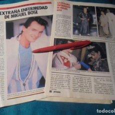 Coleccionismo de Revista Pronto: RECORTE : LA EXTRAÑA ENFERMEDAD DE MIGUEL BOSÉ . PRONTO, OCTBRE 1985 (#). Lote 243762980