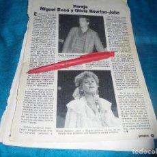 Coleccionismo de Revista Pronto: RECORTE : MIGUEL BOSE Y OLIVIA NEWTON-JOHN. PRONTO, ABRIL 1982 (#). Lote 244004490