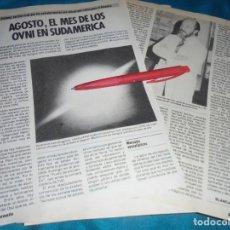 Coleccionismo de Revista Pronto: RECORTE : AGOSTO, EL MES DE LOS OVNI EN SUDAMERICA. JIMENEZ DEL OSO. PRONTO, SPTMBRE 1985(#). Lote 244006515