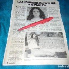 Coleccionismo de Revista Pronto: RECORTE : LOLA FORNER DESCONTENTA. PRONTO,MAYO 1983(#). Lote 244007205