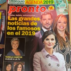 Coleccionismo de Revista Pronto: REVISTA PRONTO Nº 2435 AÑO 2019. ISA PANTOJA / TERELU CAMPOS / FAMOSOS 2019 / BISBAL / ........ Lote 244549305