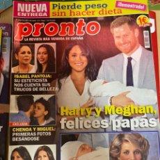 Coleccionismo de Revista Pronto: REVISTA PRONTO Nº 2454 / 2019 HARRY Y MEGHAN / CHENOA / MALU Y RIVERA / MARIO CASAS / LADY GAGA. Lote 244565985