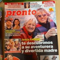 Coleccionismo de Revista Pronto: REVISTA PRONTO Nº 2530 / 2020 JESUS CALLEJA / ISABEL PANTOJA / IKER CASILLAS ETC...... Lote 244572065